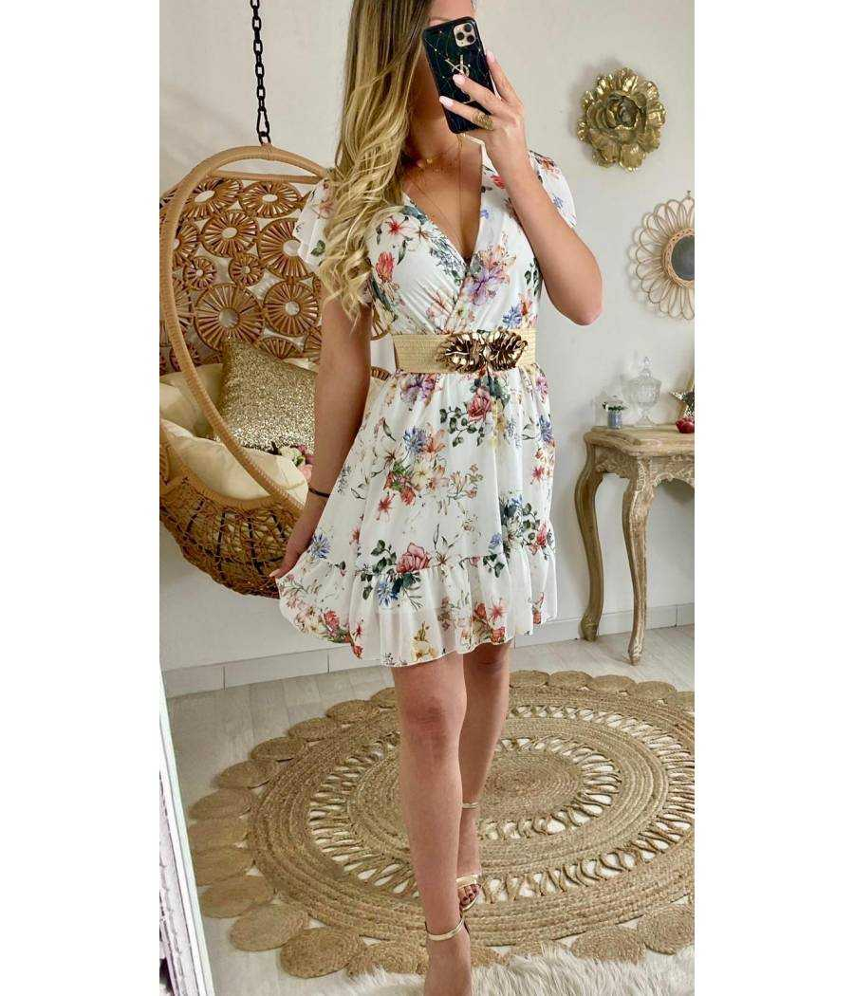 "Ma robe cache cœur blanche ""wide flowers"""