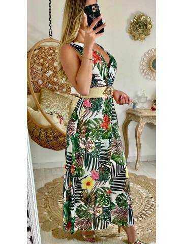 "Ma jolie robe longue blanche ""tropical 2"""