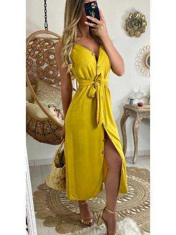 """Ma jolie robe fluide moutarde """"boutonnée et taille nouée"""""""
