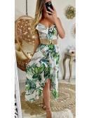 Ma robe longue blanche leaf & volants