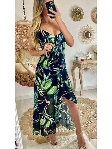 Ma robe longue noire leaf & volants