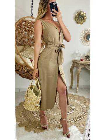 """Ma jolie robe fluide camel """"boutonnée et taille nouée"""""""