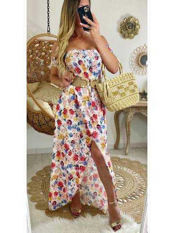 "Ma robe longue bustier ""fresh flowers"""