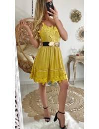 "Ma jolie robe jaune et broderies ""dos croisé"""