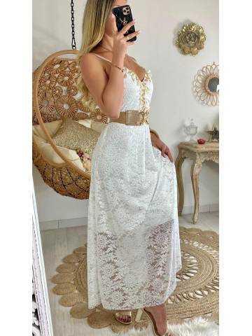 """Ma jolie robe longue blanche """"dentelle et pompons"""""""