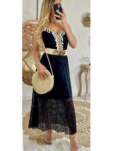 """Ma jolie robe longue noire """"dentelle et pompons"""""""