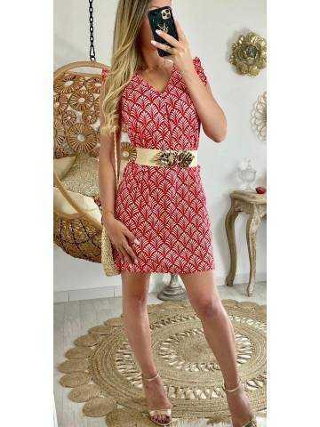 """Ma petite robe droite """"rouge et imprimée"""""""