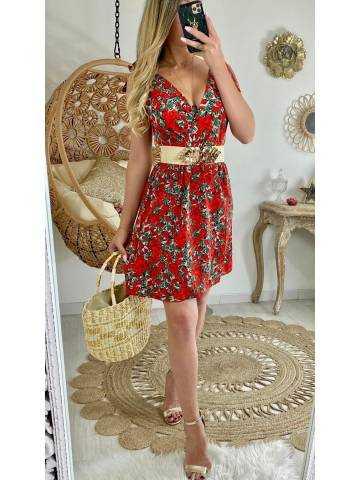 """Ma robe petites fleurs rouges """"bretelles nouées"""""""