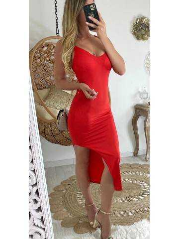 """Ma robe rouge côtelé fendue """"dos croisé"""""""