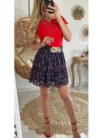 Ma petite jupe noire fleurs rouges & volant