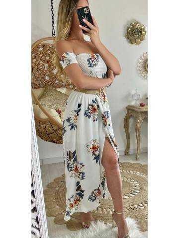 """Ma robe longue bustier smoké """"leaf & flowers"""""""