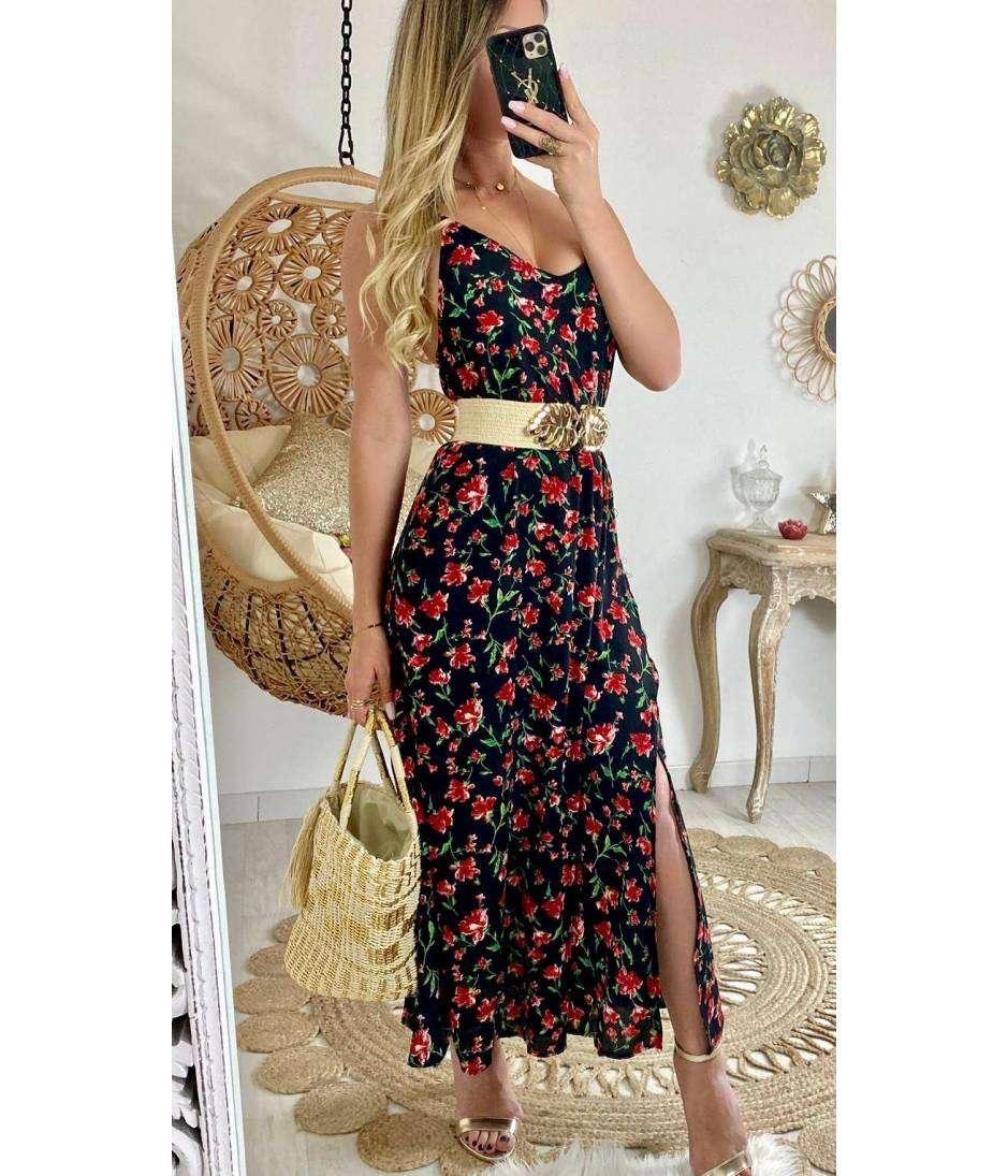 """Ma superbe robe noire et fleurs rouges """"dos croisé"""""""