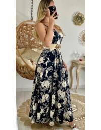"""Ma robe longue black et nude flowers """"dos lacet"""""""