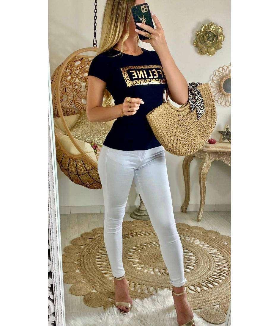 """Tee-shirt noir  """"Féline"""" gold"""