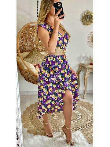 """Ma jolie robe cache coeur et voilage """"purple flowers"""""""