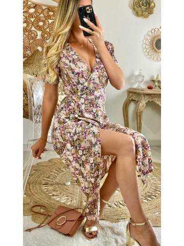 "Ma jolie robe cache coeur mi-longue ""pastel flowers"""