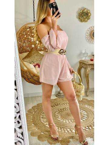 Ma combi-short en voilage pink