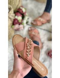 """Mes jolies mules pêches """"Suede & strass"""""""