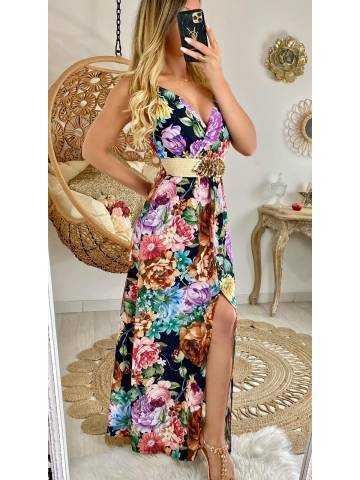 """Ma robe longue noire & fleurs """"boutonnée"""""""