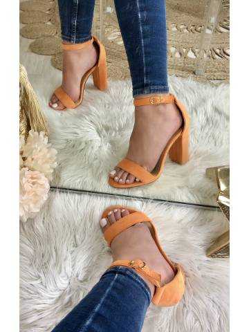 """Mes sandales à talon orange """"style velour"""""""