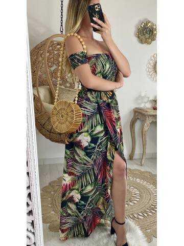 "Ma robe longue bustier ""Tropical leaf"""