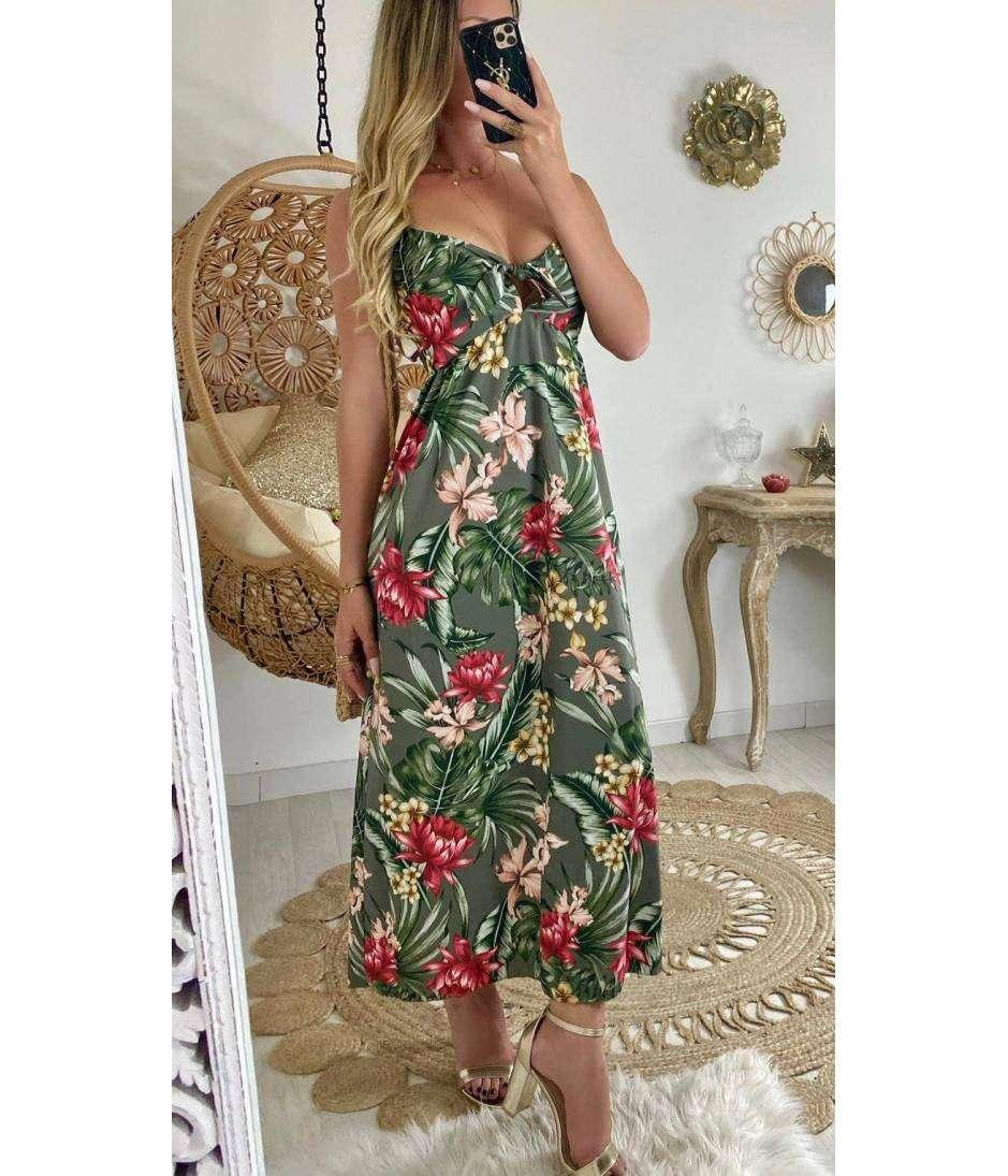 """Ma robe longue kaki jungle """"décolleté noué"""""""