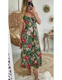 """Ma robe longue kaki tropic """"décolleté noué"""""""