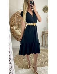 Ma jolie robe mi-longue noire et sa ceinture