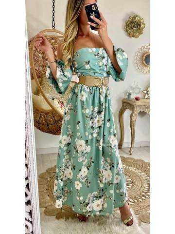 "Ma robe longue drapée ""vert aqua & flowers"""