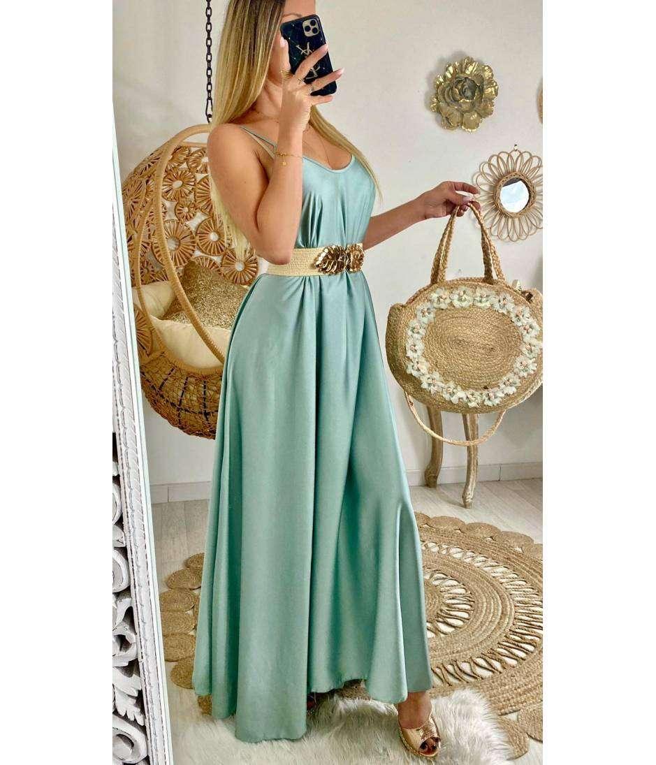 """Ma jolie robe longue vert aqua satiné """"maxi"""""""