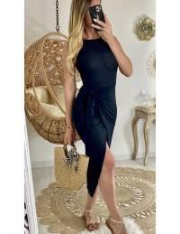 Ma robe longue côtelée  black à nouer