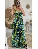 """Ma robe longue noire tropicale """"boutonnée et décolleté noué"""""""
