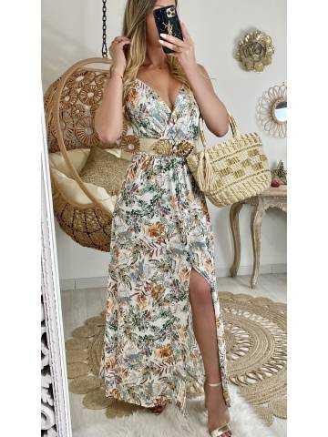 "Ma robe longue blanche tropicale ""boutonnée"""