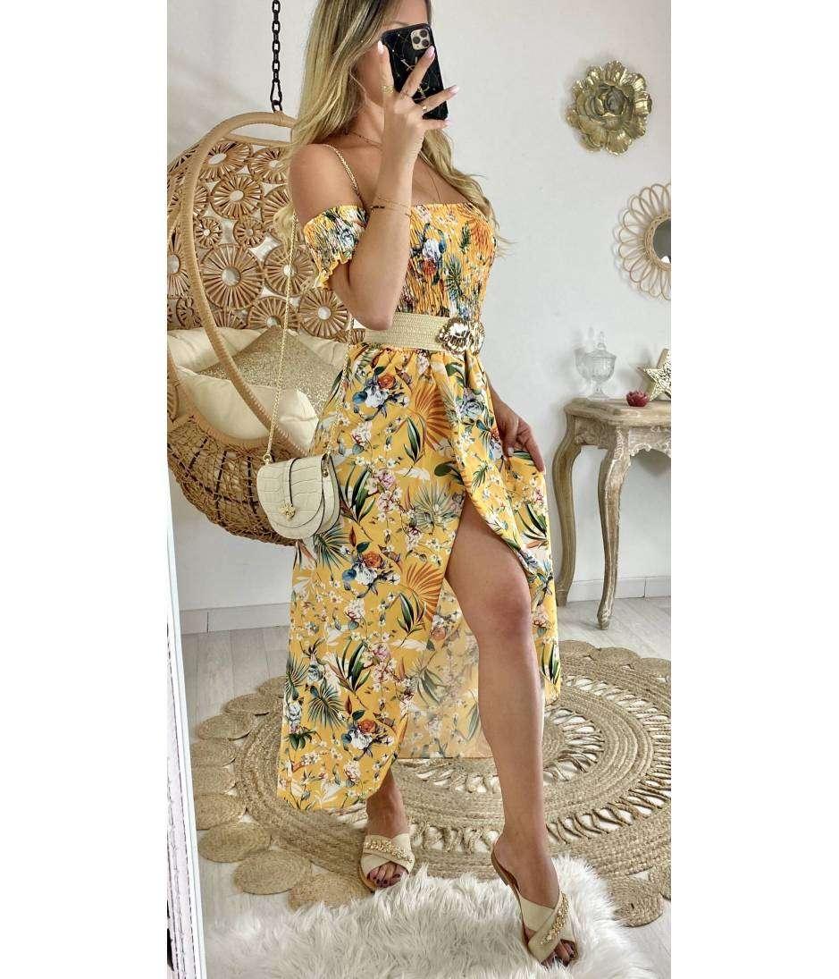 "Ma robe longue bustier smoké ""jaune tropic"""