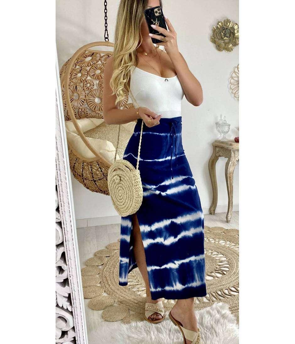 Jolie jupe longue bleue Tie and Dye