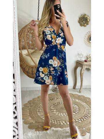 "Ma jolie robe bleu canard  fleurie  ""épaules volantées"""