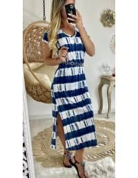 Ma robe longue style tee shirt tie & dye blue