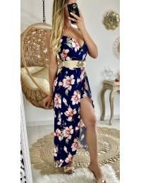 "Ma robe longue marine fleurie ""fendue et son short"""