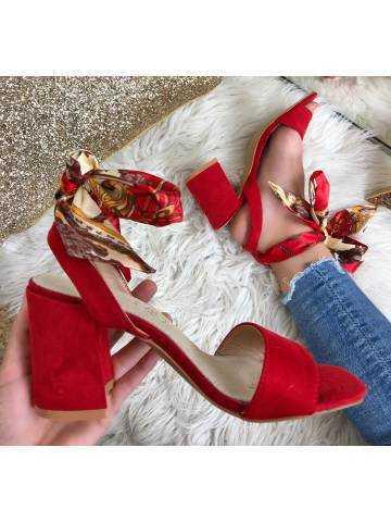 """Mes jolies sandales à talon """"rouge foulard"""""""