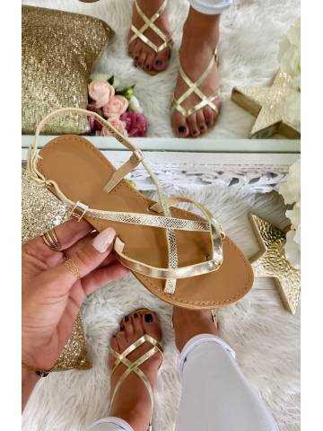 """Mes sandales gold """"lanières croisées"""""""