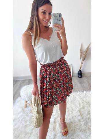 """Ma jupe plissée """"fuchsia & flowers"""""""