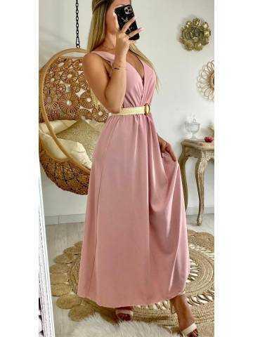 Ma jolie robe longue rose pâle et sa ceinture