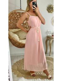 "Ma jolie robe longue rose pâle ""col tressé"""