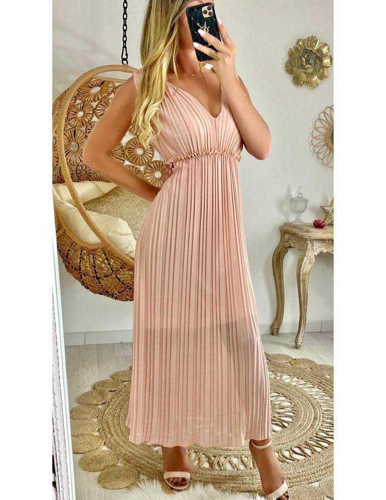 Ma robe longue rose pâle plissée - MyLookFéminin, Un Look, Un Concept, Un Prix