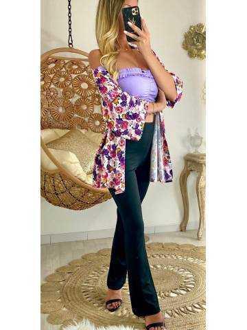 Mon gilet kimono jolies fleurs colorées