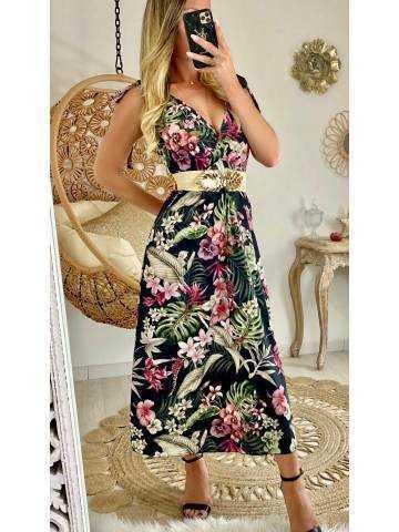 """Ma jolie robe longue leaf & flowers """"bretelles nouées"""""""