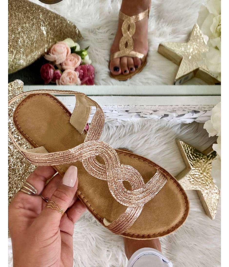 "Mes sandales rose gold ""tressées"""