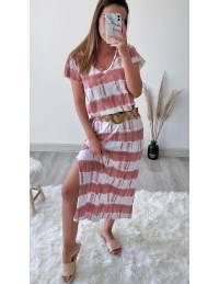 Ma robe longue style tee shirt tie & dye pink