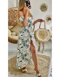 "Ma robe longue bustier ""flowers pastel & leaf"""