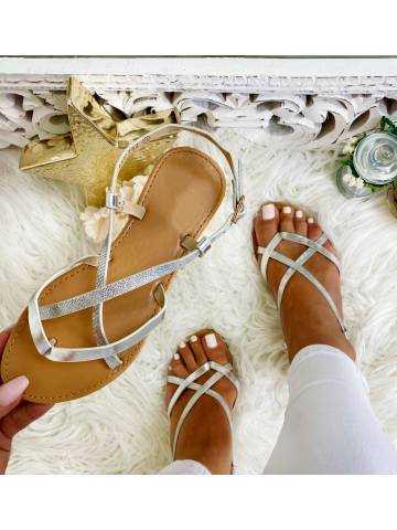 """Mes sandales silver """"lanières croisées"""""""